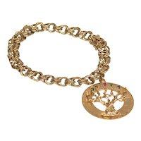 "Vintage 14K gold bracelet with ""Tree of Life"" charm"