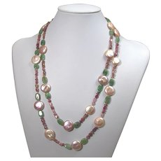 Gemstone necklace with cultured freshwater coin pearls