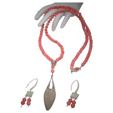 Coral bead necklace and earring set