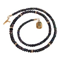 Ethiopian black opal and 18 K gold necklace