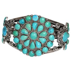 Vintage Native American, Navajo sterling silver and turquoise cuff bracelet signed by Elsie Mustache Yazzie in 1947