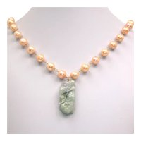 Freshwater cultured pearl necklace with a vintage Chinese jade pendant