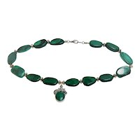 Malachite bead necklace with pendant