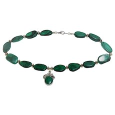 Malachite bead necklace with pendant
