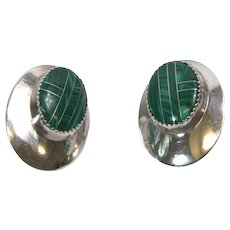 Sterling silver earrings with Malachite inlay settings