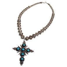 Vintage Native American, Zuni sterling silver cross pendant with Turquoise stones