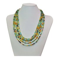 Multi stone 5 strand necklace