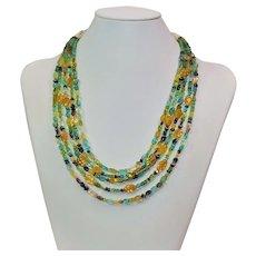 Multi stone 5 strand necklace