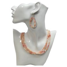 Peruvian opal necklace and earring set