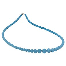 """Vintage """"occupied Japan"""" glass bead necklace in Robins Egg Blue"""
