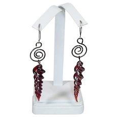 Hand blown glass pendant earrings