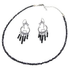 Victorian style black spinal necklace and earring set