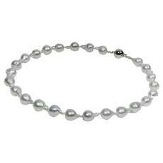 Baroque South Sea cultured pearl necklace with white gold clasp