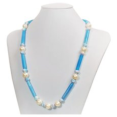 Contemporary necklace with cultured freshwater pearls and vintage glass beads