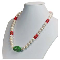 Freshwater cultured pearl necklace with a vintage Pate de Verre focal bead