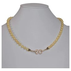 Golden Akoya cultured saltwater pearl necklace