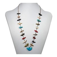 Vintage Native American, Zuni, animal fetish necklace
