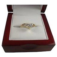 14K Chevron Diamond Ring