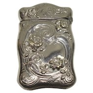 German Silver Floral Match Safe or Vesta
