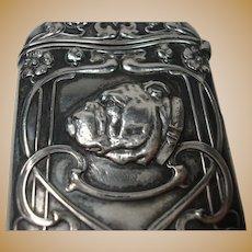 Gorham Sterling Bulldog Match Safe or Vesta