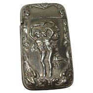 Silver Plate Boy Girl Running Match Safe or Vesta