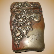Art Nouveau Silver Plate Match Safe or Vesta