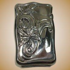 Sterling Leaf Design Match Safe or Vesta