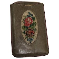 CLOSEOUT!!!  Leather Floral Needlepoint Match Safe