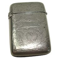 Cute Floral and Leaf Silver Plate Match Safe or Vesta