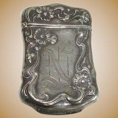Sterling Art Nouveau Floral Match Safe or Vesta