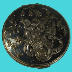 CLOSEOUT!! Mary Scott Rowland Art Nouveau Floral Silver Plate Compact