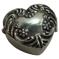 830 Repousse Floral and Acanthus Heart Shaped Pill Box