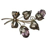 Gorgeous Large Sterling and Amethyst Leaf and Floral Brooch or Pin