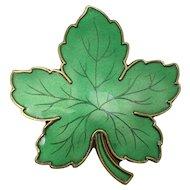 Meka Denmark Guilloche Enameled Maple Leaf Pin