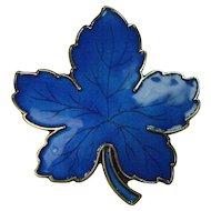 Meka Danish Large Sterling Guilloche Enameled Maple Leaf