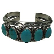 GORGEOUS Navajo Charles Lewis Sterling and Bisbee Turquoise Cuff Bracelet