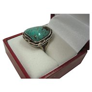 Gorgeous Sterling and Turquoise 1970's Ring