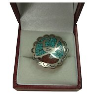 Richard Begay Navajo Roadrunner Turquoise/Coral Chip Inlay Ring