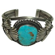 1950's Stunning Red Mountain Turquoise and Sterling Cuff Bracelet