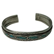 Sterling Navajo Turquoise and Mother of Pearl Inlay Bracelet