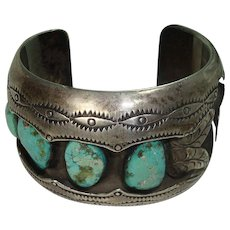 Signed Crazy Heavy Sterling Turquoise Watch Cuff Bracelet
