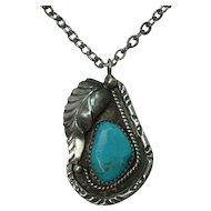 "Sterling Turquoise Leaf Pendant on 24"" Chain"