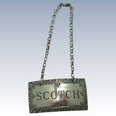 Stieff Scotch Sterling Decanter Label