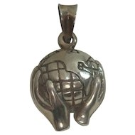 Heavy Sterling Hands Holding Earth Charm or Pendant