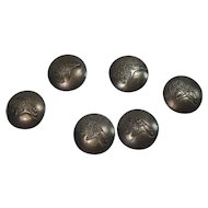 Native American Bear Sterling Button Covers-Set of 6
