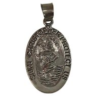 Sterling St Christopher Medal Pendant