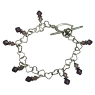 CLOSEOUT!! Sterling Heart Amethyst Colored Bracelet