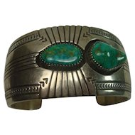 Signed R A Lewis Turquoise and Sterling Cuff Bracelet