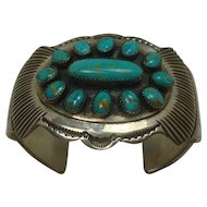 Signed Navajo Turquoise and Sterling Cuff Bracelet