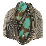 117.4 grams Wilson Padilla Turquoise Sterling Navajo Cuff Bracelet